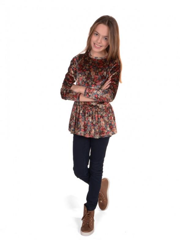 Floral ruffle tunic