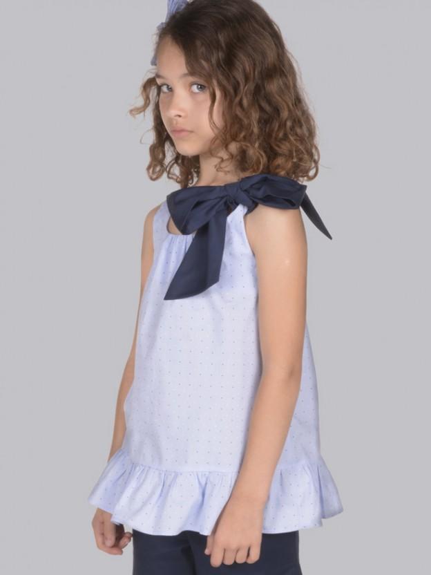 Ruffle short-sleeve blouse