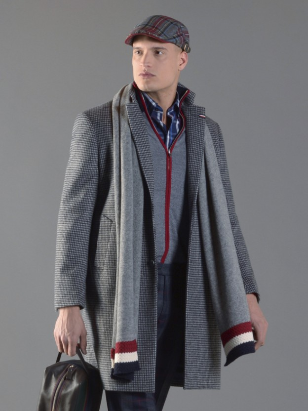Checked overcoat