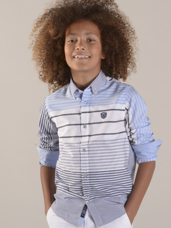 L-sleeve shirt stripes slim fit