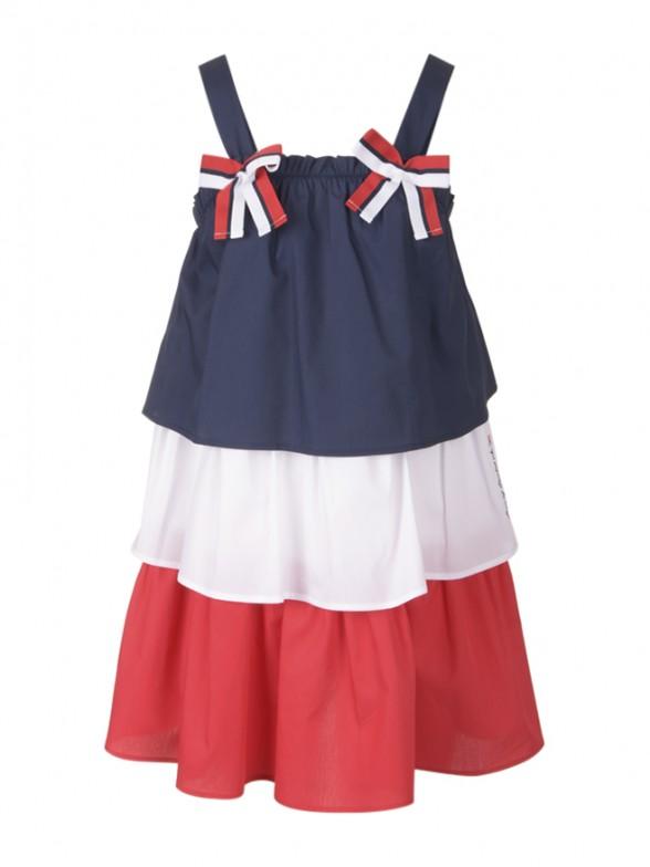 Vestido folhos tricolor
