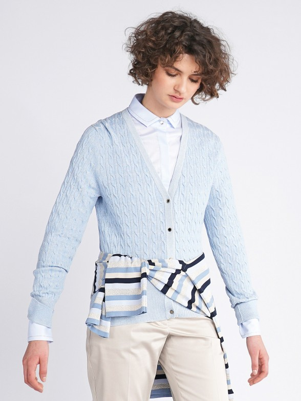 Plaited knit cardigan