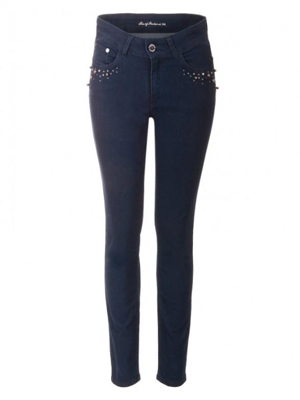 Jeans denim com Aplicações