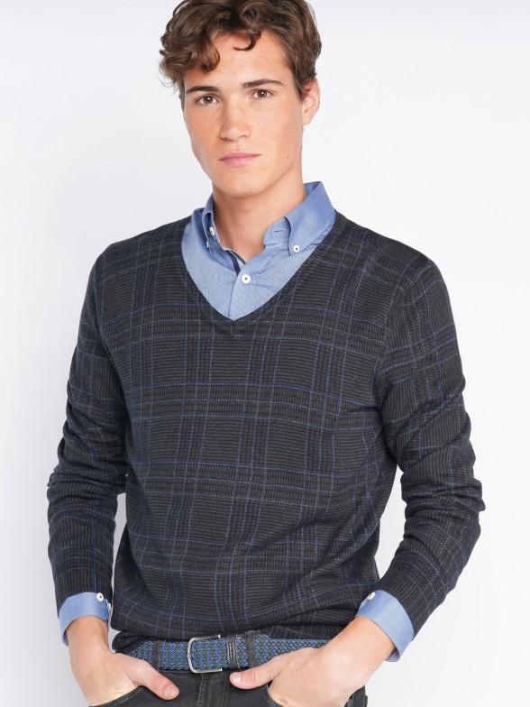 Jersey cuello pico cuadros