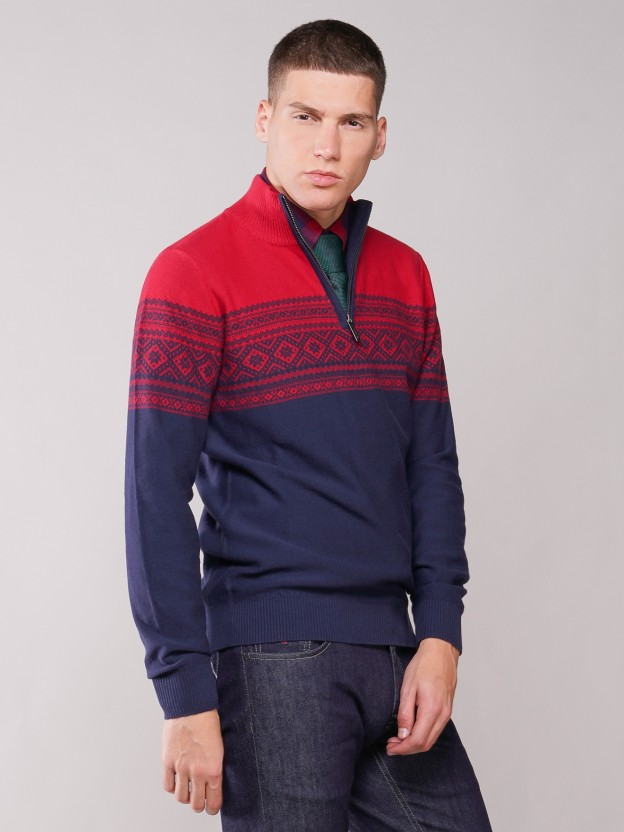 Zip knitted jumper