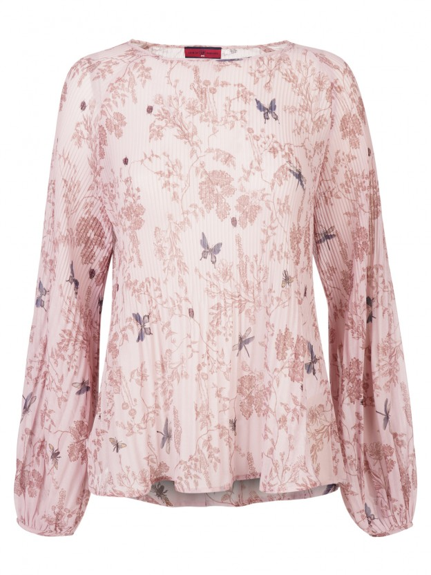 Pleated blouse with floral pattern
