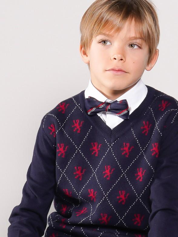 V-neck diamond pattern sweater