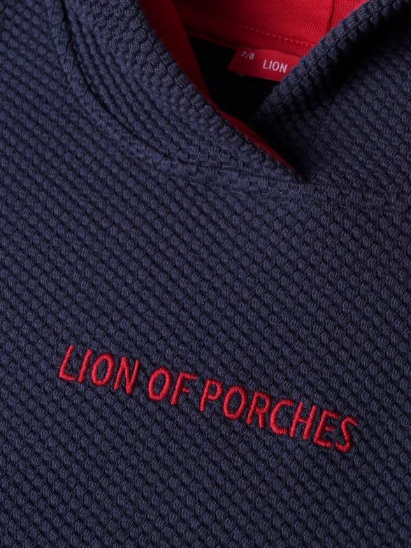 Sweatshirt com capuz e lettering em contraste