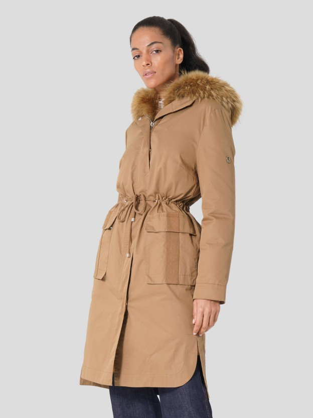 Long Double Parka with Hood