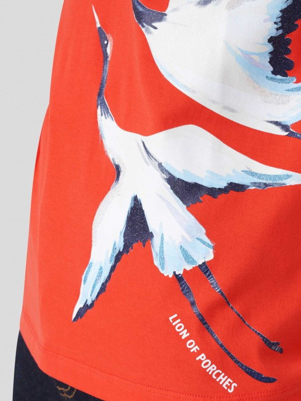 T-shirt com Estampado de Cegonhas