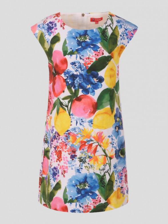 Vestido Manga Curta Flores