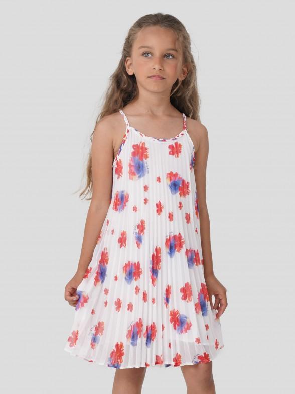 Vestido Plissado Flores