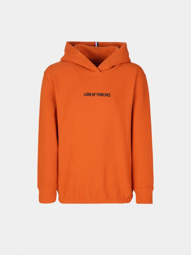 Hooded sweatshirt with contrasting lettering