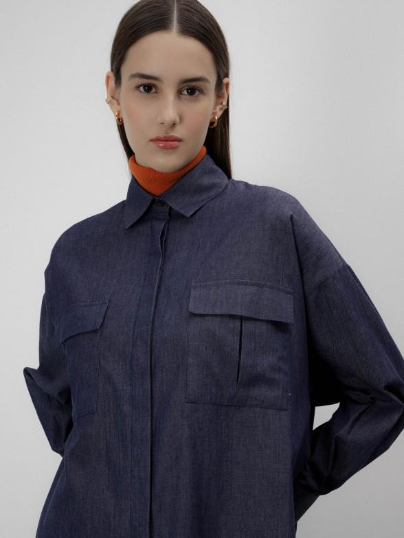 Camisa denim assimétrica