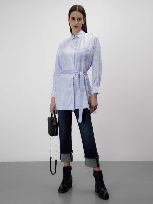 Striped tunic with bicolor belt