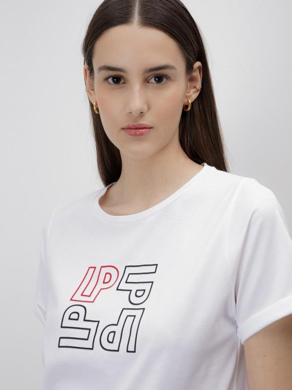 T-shirt branca com estampado monogramas