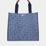 Shopper azul com monograma LP