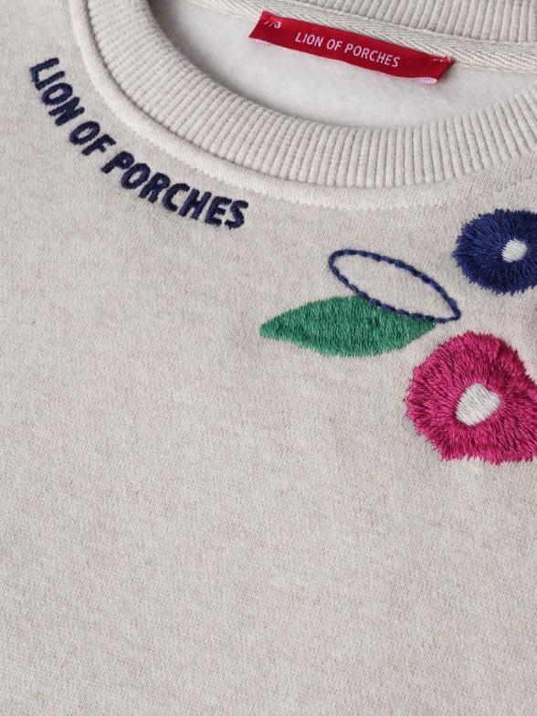 Sweatshirt bordada com motivos florais