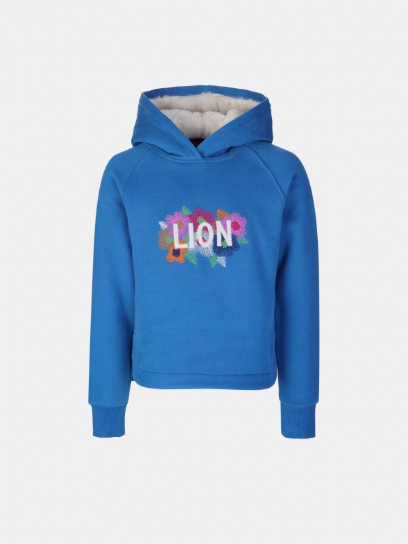 Sweatshirt bordada com capuz