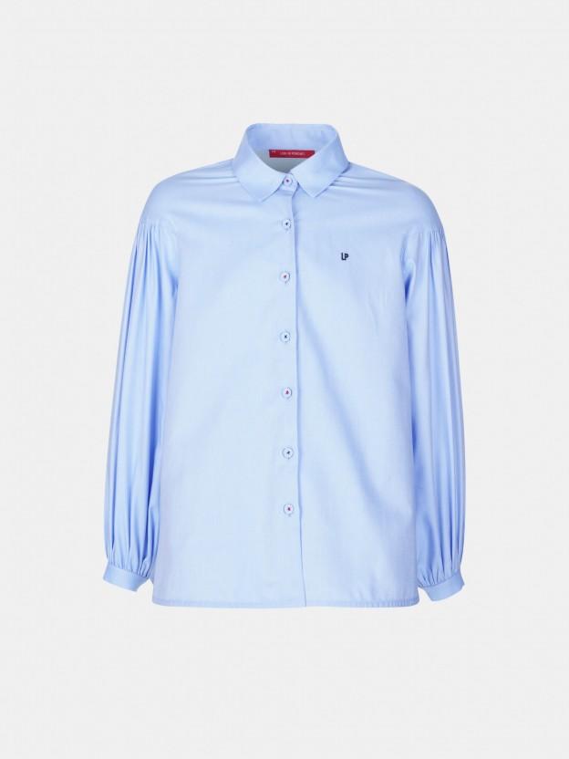 Asymmetric bulged sleeve shirt