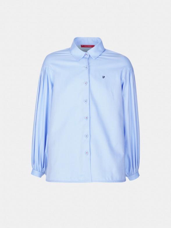 Camisa assimétrica manga abalonada