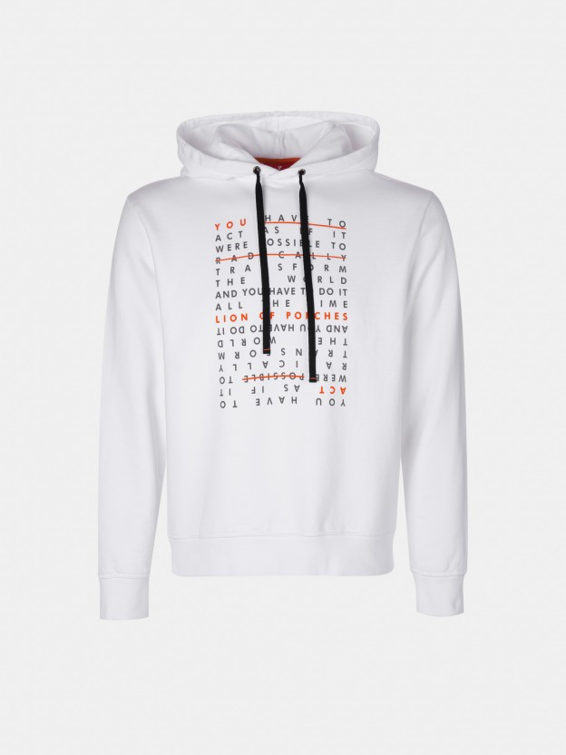 Hooded sweatshirt with printed message