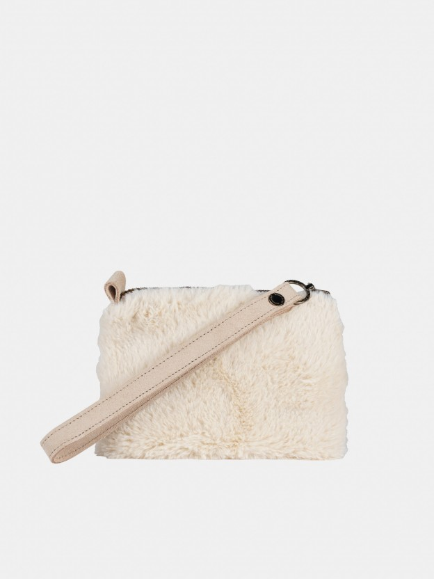 Synthetic raw  fur wallet