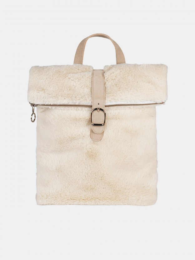 Synthetic raw fur backpack