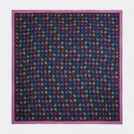 Pañuelo de seda con monogramas de colores
