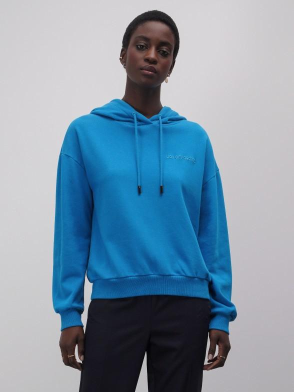 Sweatshirt azul com capuz