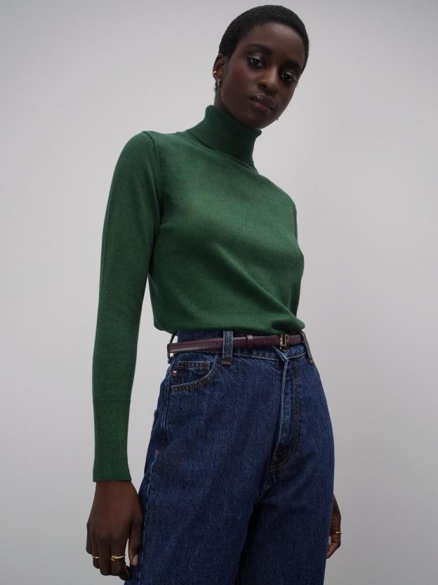 Jersey de cuello alto de algodón y lana