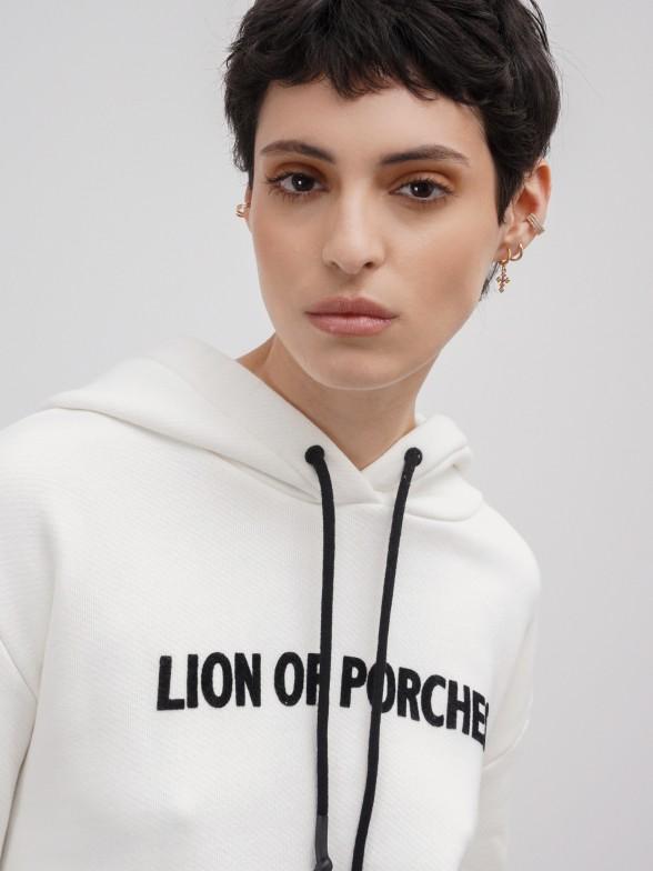 Sweatshirt curta com estampado veludo