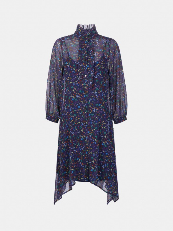 Vestido assimétrico com manga abalonada