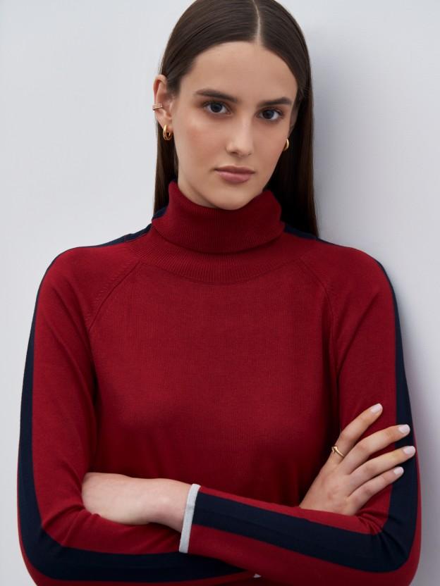 Jersey de cuello alto bicolor