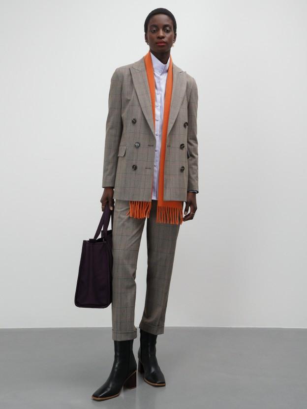 Long plaid blazer