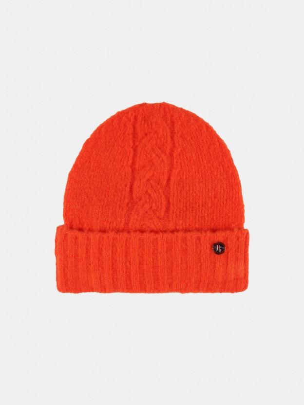 Orange braided knit cap