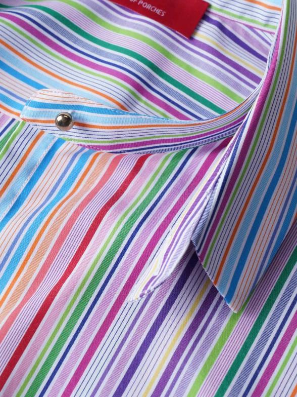 Camisa regular fit com riscas multicolores