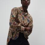 Asymmetric shirt with floral print