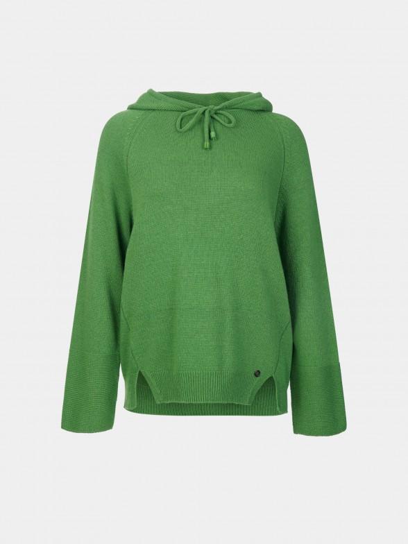Sweatshirt em malha com capuz