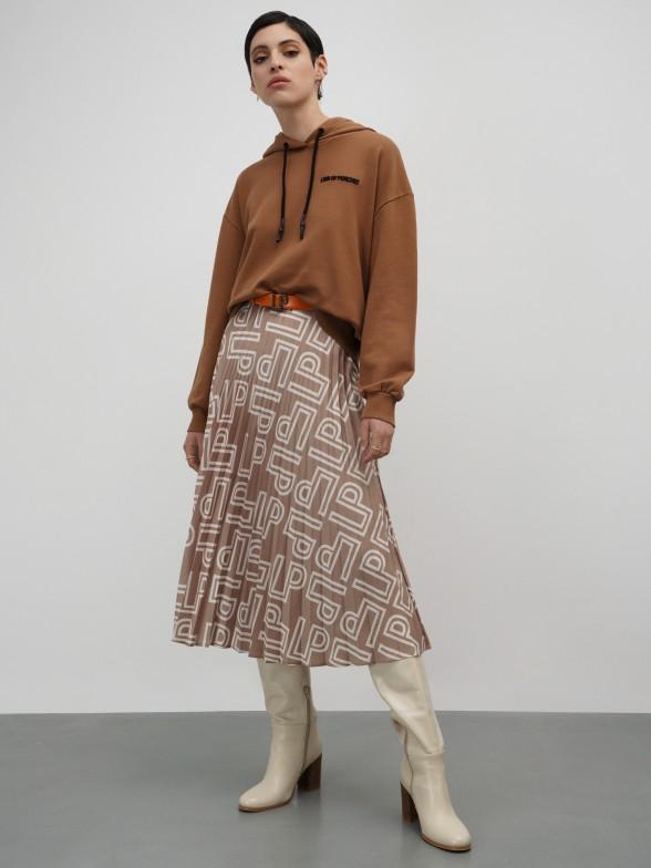 Sweatshirt camel com capuz