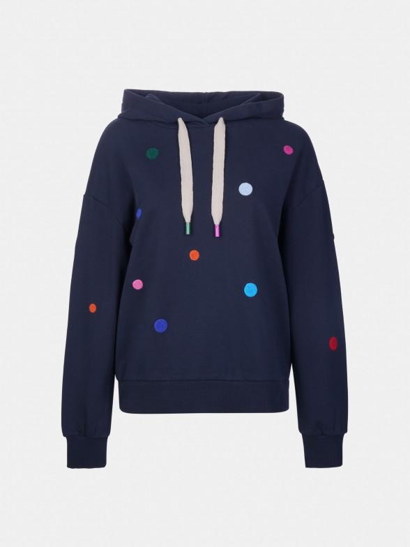 Sweatshirt com bordado bolinhas