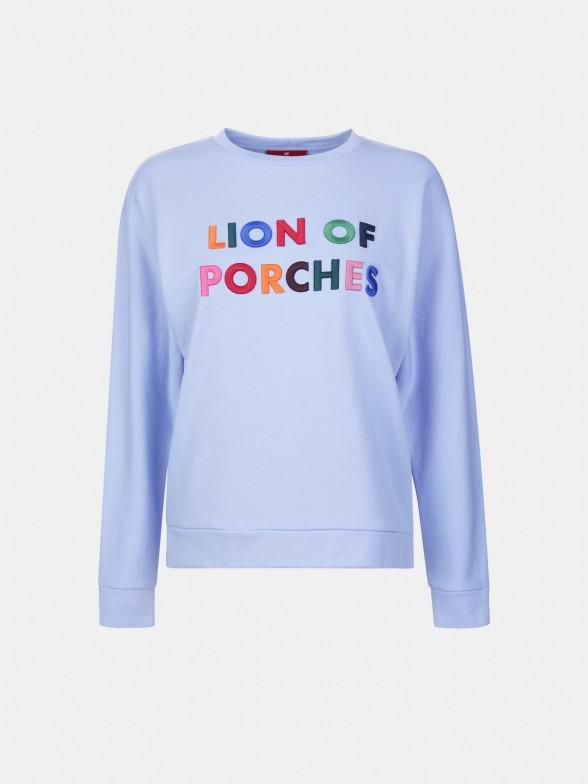 Sweatshirt com bordado multicolor