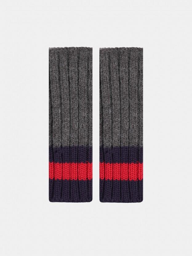 Guantes de lana con puños tricolor