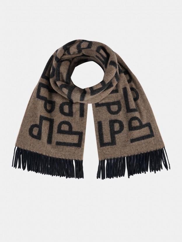 Cachecol em lã com monogramas