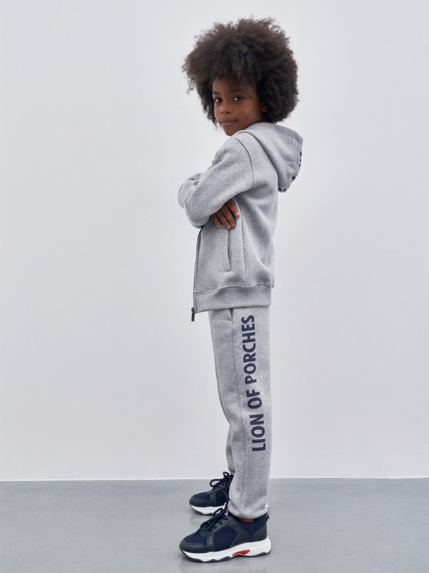 Pants with printed lettering