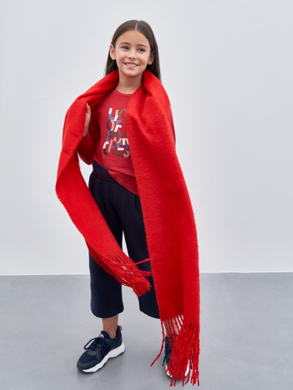 Camisola de algodão com lettering colorido