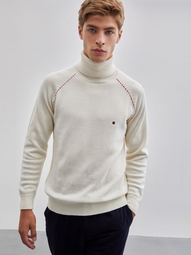 Camisola gola alta 100% lã