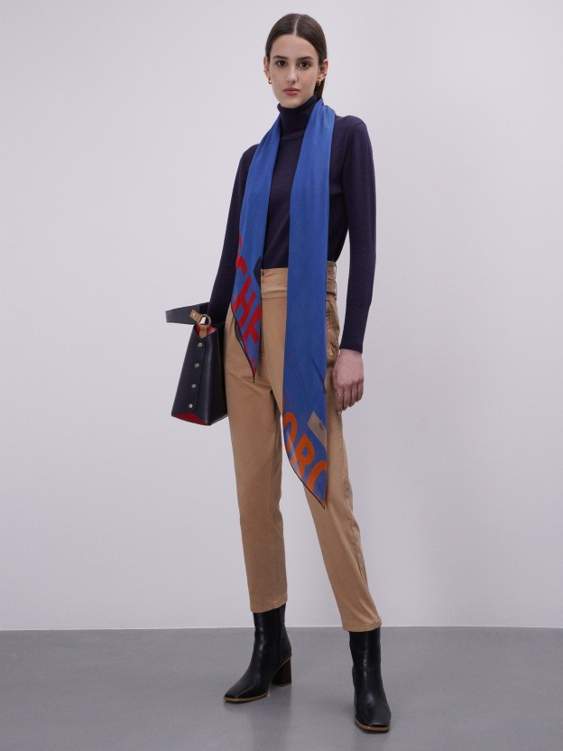 Camisola gola alta em algodão e lã