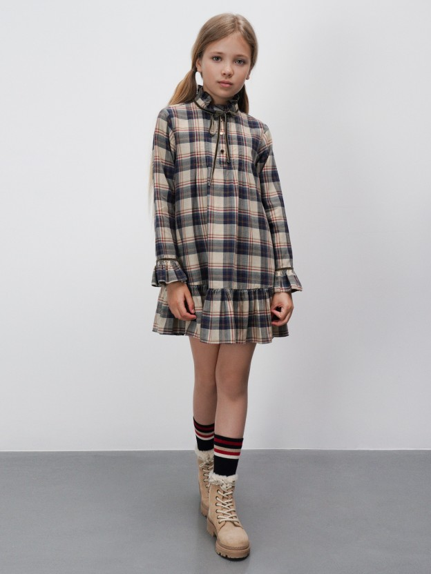 Checkered dress with frill detail